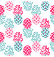 pineapple pink and blue seamless pattern vector image
