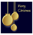 three gold paper christmas decoration baubles vector image