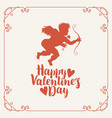 valentine card with cupid bow arrow and hearts vector image