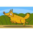 cartoon happy shaggy playful dog vector image vector image
