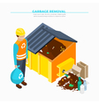 Garbage Removal Isometric Poster vector image