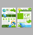 saving energy brochure template for eco design vector image vector image