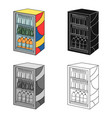 fridge with drinks icon in cartoon style isolated vector image