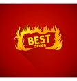 Sign best offer with burning vector image