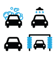Car wash icons black and blue set - vector image vector image
