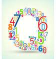 Letter Q colored font from numbers vector image