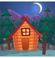 cartoon wooden shack in the night woods vector image vector image