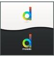letter D logo alphabet mosaic icon set background vector image