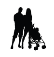 couple wth baby silhouette vector image vector image