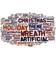 artificial christmas wreath text background word vector image