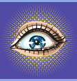 beautiful female eye with make up pop art retro vector image