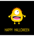 Happy Halloween greeting card Yellow monster with vector image