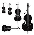 music instruments set stringed musical instrument vector image