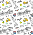 New York city seamless pattern with Hand drawn vector image