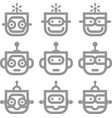 robot head silver technology icon symbol vector image
