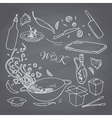 Set of outline hand drawn wok restaurant elements vector image