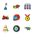 track icons set cartoon style vector image