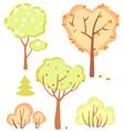 cute set of bushes and trees vector image