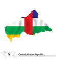 Map of Central African Republic with flag vector image vector image