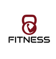 fitness emblem with muscle and kettlebell vector image