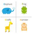 Letter E F G H Elephant Frog Giraffe Hamster Zoo vector image