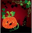 Halloween frame with pumpkin vector image