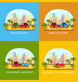 car accident banners - collision and pedestrian vector image