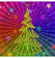Christmas tree on rainbow background vector image