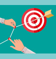 hand of businessman pointing to arrow from target vector image
