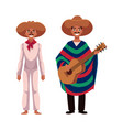 mexican man in traditional national sombrero and vector image