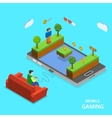 Mobile gaming flat isometric concept vector image