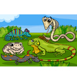 reptiles and amphibians group cartoon vector image