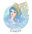 Astrological sign of Cancer as a beautiful girl vector image