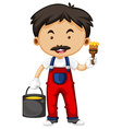 Painter holding brush and bucket of paint vector image