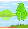 Landscape Trees and River Low Poly vector image vector image