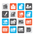 Silhouette credit card POS terminal and ATM icons vector image
