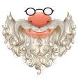 Santa mask White beard glasses and nose vector image