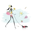 Floral girl walking with dog vector image