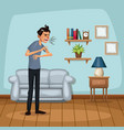 Background living room home with sneeze sickness vector image