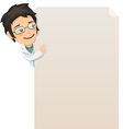 female doctor looking at blank poster vector image