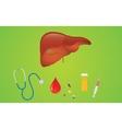 liver hepatitis disease with mediicine pills and vector image