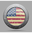 vintage metal button with flag of USA - grunge vector image