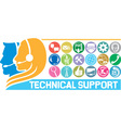 Technical Support Icon Set vector image vector image