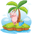 A pig in an island vector image vector image