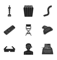 Films and cinema set icons in black style Big vector image
