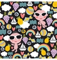 Boys on vacation seamless pattern vector image