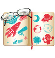 Book full with science symbols vector image