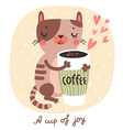 cat and coffee vector image