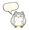 cartoon wise old owl with speech bubble vector image