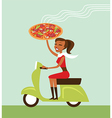courier deliver hot pizza vector image vector image